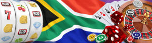 South African flag with slots and roulette wheel and casino chips, casino dice and playing cards